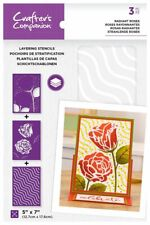 "Crafter's Companion ~ Layering Stencils ~ 3 piece ~ 5x7"" ~ Radiant Roses"
