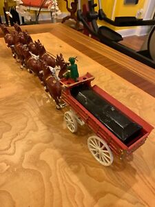 Vintage Cast iron Clyesdale Beer Wagon Metal Horse Drawn Cart Wagon 31'' Long