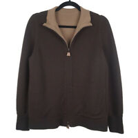 Akris 100% Cashmere Brown Full Zip Sweater Size 12