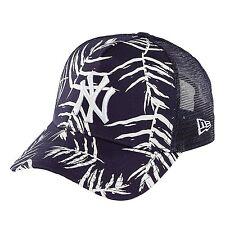 New Era NY Sandwash Leaf Navy Yankees Trucker Curve Peak Hat Cap