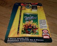 Walt Disney Phineas And Ferb 4 Piece Study Set Memo Pad Eraser Pencil Sharpener