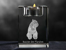 Bouvier des Flandres, crystal candlestick with dog, souvenir, Crystal Animals Ca