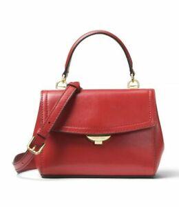 Michael Kors Ava Leather Satchel Top Handle Handbag Purse Bright Red, MSRP $268