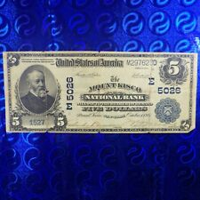 US 1902 $5 Mount Kisco National Bank Bill ~ National Currency Charter 5026