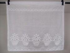 Curtain Lace Panel Flower Pots Victorian Cottage Chic Vintage White