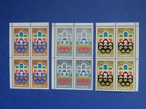 #B1-B3 MNH  3 fresh blocks of 4 of Olympic Symbols  CV= $9.00