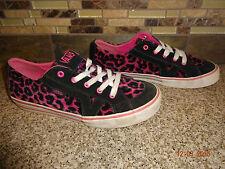 Youth VANS Sz 4 EUR 35 Pink & Black Leopard Print Lace-up Suede/Fabric Shoes