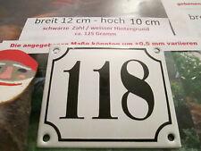 Hausnummer Emaille Nr. 118 schwarze Zahl auf weißem Hintergrund 12 cm x 10 cm