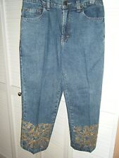 24 KARAT SIZE 6 DENIM CAPRI GOLD APPLIQUE ON CUFF GOLD SEQUIN COTTON SPANDEX