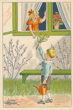 EASTER – Jenny Nystrom Signed Giving Her Flowers Miniature Glad Pask Postcard