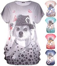Womens Plus Size Diamante Puppy Dog Animal Hat Print Cap Sleeve Long Ladies Top