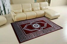 MODERN  MEDIUM LARGE 3D EFFECT GREEK BORDER DESIGN RUG RED SILVER  CARPET MAT