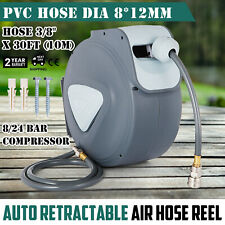 """Air Line Compressor Hose Reel 5/16"""" 33ft 10m Auto UK Mounting Kit Retractable"""