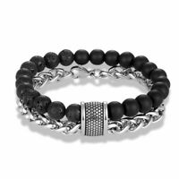 Natural Stone Beaded Bracelet Link Chain Stainless Steel Men's Stylish Jewelry