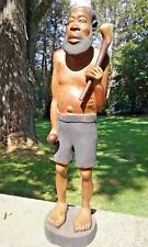 Vintage Carved African Statue of a man with a beard 3 1/2 ft tall