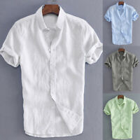 UK Men's Summer Retro Shirts Cotton Linen T Shirt Casual Collar V Neck Tee Tops