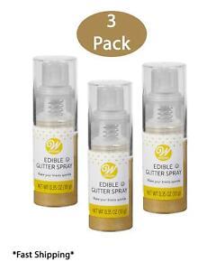 3 Pack of 0.35 oz Wilton Gold Sparkling Edible Glitter Spray