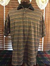 Men's Vguc Peter Scott Xl Extra Large Navy Striped 3 Button Golfing Polo Shirt