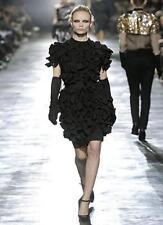 Lanvin for H&M black ruffle wool mix sleeveless formal dress size 40, 10 USA