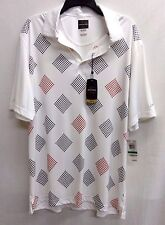 Greg Norman For Tasso Ella Play Dry Bright  White Printed Golf Polo, Size L