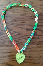 Vintage Kids Chain Necklace Love Heart Very Colorful