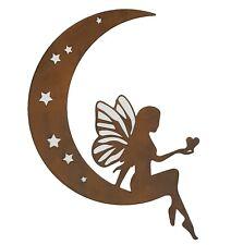 Fairy on Moon Stars Metal Hanging Wall Art Rust Rustic Sculpture Décor *57 cm*