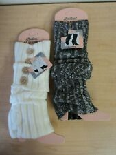 NEW Lot of 2 Ladies Winter Legwarmers Boot Cuffs White Gray One Size Cute!