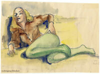 Nachlass Irma Siegert: Laszive Pose, aquarellierte Bleistiftzeichnung um 1950