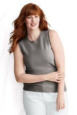 Land's End 2PLY CASHMERE Tank Shell Sleeveless 3X Sweater Dark Brown Heather NWT