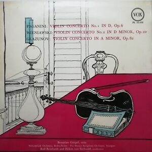 Paganini / Wieniawski / Glazunov: Violin Concertos / Gimpel / Vox LP PL 10.450