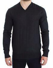 NWT $700 DOLCE & GABBANA Gray Silk Cashmere V-neck Sweater Pullover IT50 / L