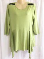 Comfy USA Sz S green zipper shoulder asym hem 3/4 sleeve tunic top EUC