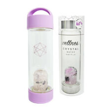 Lifestyle Products Crystal Glass Water Bottle, Natural Amethyst and Quartz
