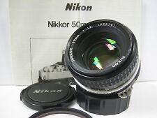 Excellent Nikon Nikkor 50mm f1.8 AI Lens w caps F FE2 FM FA F2 F3 F4 EM FG FM2