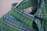 Wrangler Wrancher Mens 3XL Western Pearl Snap Shirt Green Plaid Short Sleeve
