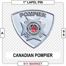 Canadian Pompier Patch Maltese Cross Lapel Pin Silver Canada Firefighter -  A 96