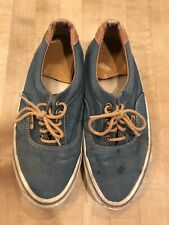 Vintage Vans Era Shoes Mens Sz 8 Blue Tan Canvas Leather