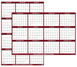 24x36 SwiftGlimpse 2022 Large Wall Calendar, Paper Folded, Yearly Planner-Maroon