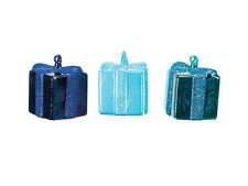 "40436 Melrose Set/3 3"" Blue Teal Gift Box Present Hand Blown Glass Ornament"
