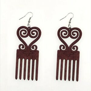 LOT OF 2 TWO PAIRS of  African Wood Pick Heritage Art Heart Swirl Earrings 7.5CM