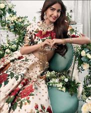 Sabyasachi Sonam Kapoor Cream Silk Floral Bollywood Lehenga Choli sari saree