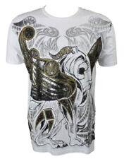 Konquest PLATINUM UOMO LEONE ALATO CON STAMPA Scettro T-shirt bianca (kqts 029)