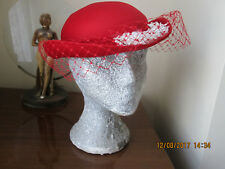 Vintage Kangol pillarbox red pill box hat. Flowers & netting.  Made in England.
