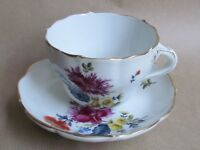 DRESDEN PORCELAIN HAND PAINTED FLOWERS CUP & SAUCER TWIG HANDLE (Ref4013)
