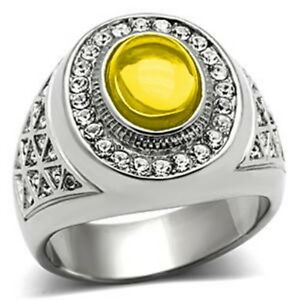 10x8mm 316 Stainless Steel November Yellow Topaz Stone Dome Cut Men Ring Size 10