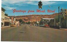 Greeting from Moab, Utah, Circa 1950's Vintage Unused Postcard, Main Street