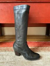 Frye Rory Scrunch Boots Black Leather Block Heel Knee High Pull On Sz 8.5M-9M