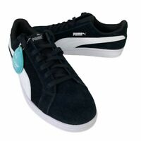 Puma Mens Smash Tennis Shoes Black Lace Up Low Top Round Toe 370205 01 8.5 New