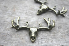 6pcs Antler Skull charms Bronze tone Deers Heads With Antlers Pendants 55x38mm