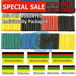 360 pcs 2:1 Heat Shrink Tube Tubing Sleeving Wrap Wire cable Insulated Assorted